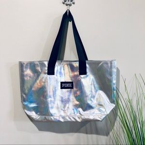 PINK silver iridescent tote bag
